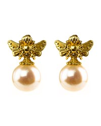 Konstantino 18K Yellow Gold Pearl Bee Earrings
