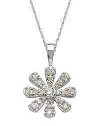 Lord And Taylor 14Kt. White Gold Diamond Flower Pendant Necklace