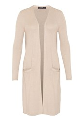 Hallhuber Long Cardigan With Lurex Beige