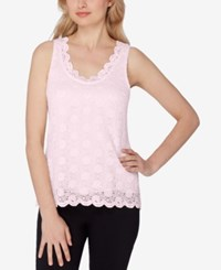 Tahari By Arthur S. Levine Asl Scalloped Lace Top Blush Pink