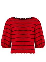 Sonia Rykiel Boat Neck Cotton Blend Tweed Top Red Multi
