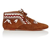 Ulla Johnson Women's Embroidered Suede Ankle Booties Brown