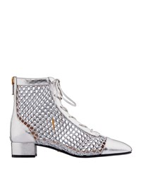 Christian Dior Naughtily D Laminated Lambskin And Mesh Ankle Bootie Silver