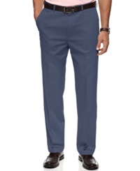 Haggar Pants No Iron Cotton Classic Fit Flat Front Ocean