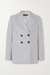 Alexachung Double Breasted Embroidered Woven Blazer Sky Blue