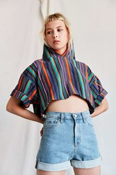 Urban Renewal Vintage Rainbow Stripe Cropped Hooded Tee Multi