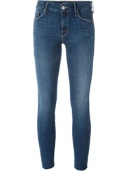 Mother 'Looker' Ankle Fray Jeans Blue