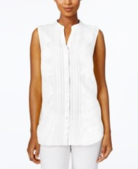 Charter Club Petite Crochet Trim Blouse Only At Macy's Bright White