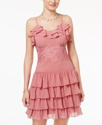 Beauty And The Beast Juniors' Lace Trim Ruffled Party Dress Heather Rose