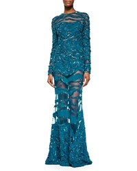 Elie Saab Beaded Sheer Inset Lace Gown Capri Blue