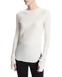 Helmut Lang Corded Rib Knit Long Sleeve Cotton Top White