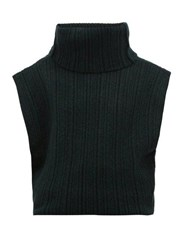 Jacquemus Aube Cut Out Roll Neck Sweater Dark Green