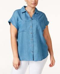 Styleandco. Style And Co. Plus Size Short Sleeve Denim Shirt Only At Macy's