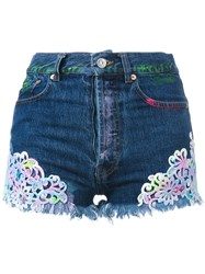 Forte Couture Embroidered Denim Shorts Women Cotton 26 Blue