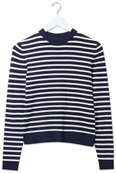 Stripe Knitted Jumper By Boutique Navy Blue