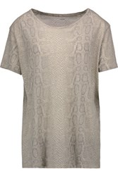 Majestic Snake Print Cotton Cashmere And Silk Blend T Shirt Gray