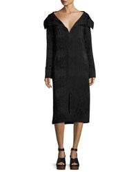 Zero Maria Cornejo Portrait Collar Jacquard Dress Black