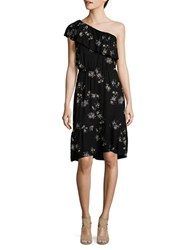 Lucky Brand Floral Printed Ruffled One Shoulder Dress Black Multicolor