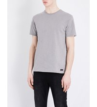 7 For All Mankind Slub Cotton Jersey T Shirt Grey
