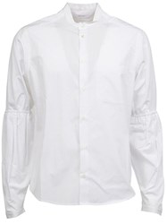 Aganovich Elasticated Sleeve Detail Shirt White