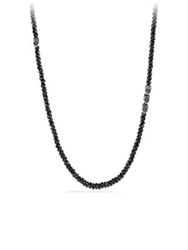 David Yurman Spiritual Beads Spinel And Sterling Silver Skull Necklace Gunmetal