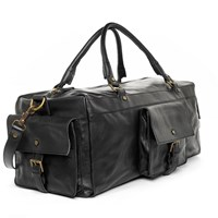 Satch And Fable Handmade Leather Duffel Carry On Bagblack