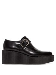 Stella Mccartney Buckled Patent Faux Leather Shoes Black
