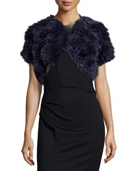 Jocelyn Rosette Rabbit Fur Shrug Navy