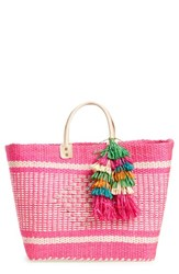 Mar Y Sol 'Ibiza' Woven Tote With Tassel Charms Pink