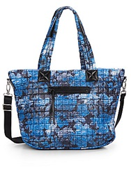 Saks Fifth Avenue Printed Quilted Nylon Tote Blue