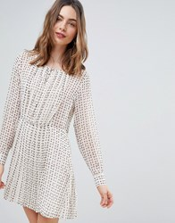 Deby Debo Jane Printed Smock Dress Off White