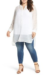 Vince Camuto Plus Size Women's Sheer Stripe Tunic