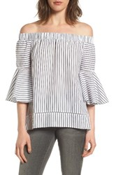 Chelsea 28 Women's Chelsea28 Bell Sleeve Off The Shoulder Top White Grey Val Stripe