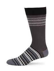 Saks Fifth Avenue Made In Italy Striped Combed Cotton Blend Socks Black