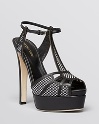 Sergio Rossi Open Toe T Strap Platform Sandals Puzzle High Heel Black White Raffia