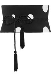 Racil Tasseled Polka Dot Silk Crepe Chine Waist Belt Black