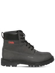 Heron Preston Tech And Leather Reflective Ankle Boot Black