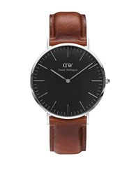 Daniel Wellington Crystal Stainless Steel Leather Strap Watch Brown