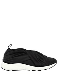 Casadei 30Mm Stretch Satin Slip On Sneakers Black