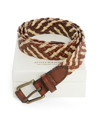 Scotch And Soda Brown And Natural Cord And Leather Mix Woven Belt