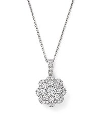 Bloomingdale's Diamond Cluster Floral Pendant Necklace In 14K White Gold 0.55 Ct. T.W. 100 Exclusive