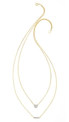 Kacey K Heart And Bar Necklace Gold Clear