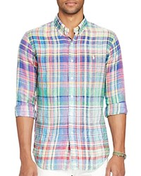 Polo Ralph Lauren Ocean Wash Classic Fit Button Down Shirt Chroma Blue Purple Multi