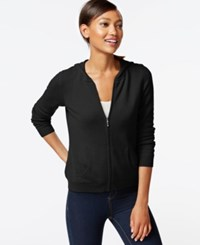 Charter Club Petite Cashmere Zip Front Hoodie Classic Black