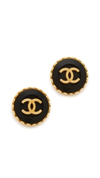 Wgaca Vintage Chanel Cc Button Earrings
