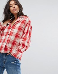 Prettylittlething Check Shirt With Tie Cuff Detail Red