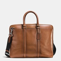 Coach Metropolitan Brief In Sport Calf Leather Black Antique Nickel Dark Saddl
