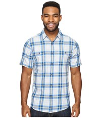 Royal Robbins Point Reyes Plaid Short Sleeve Shirt Oceania Men's Short Sleeve Button Up Blue