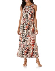 Rafaella Graphic Animal Print Maxi Dress Orange Multi