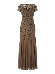 Adrianna Papell Petite Short Sleeved Floral Embellished Gown Grey